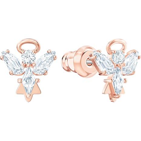 Magic Angel Stud Pierced Earrings, White, Rose-gold tone plated - Swarovski, 5498971