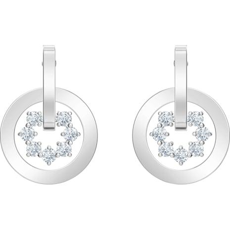 Boucles d'oreilles drop Further, blanc, Métal rhodié - Swarovski, 5499002