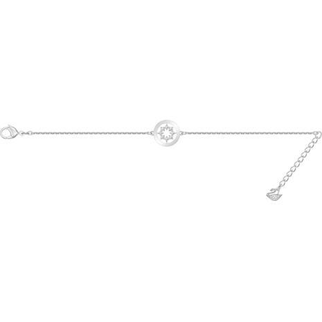 Pulsera Further Circle, blanco, Baño de Rodio - Swarovski, 5499003