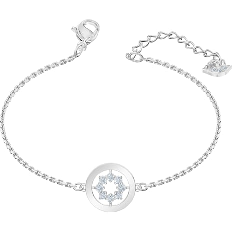 Further Circle Bracelet, White, Rhodium plated - Swarovski, 5499003