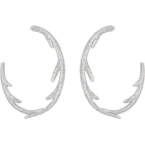 Polar Bestiary Hoop Pierced Earrings, Multi-colored, Rhodium plated - Swarovski, 5499626