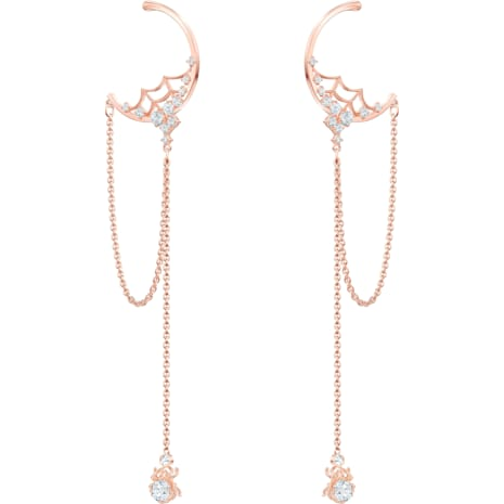 Precisely Hoop Pierced Earrings, White, Rose-gold tone plated - Swarovski, 5499888