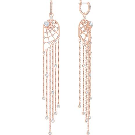 Boucles d'oreilles chandelier Precisely, blanc, Métal doré rose - Swarovski, 5499889
