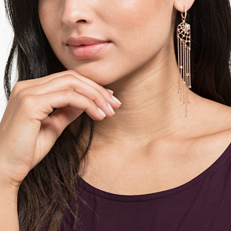 Precisely Chandelier Pierced Earrings, White, Rose-gold tone plated - Swarovski, 5499889