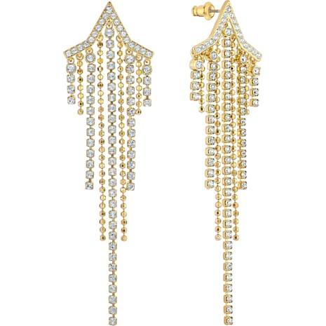 Fit Star Pierced Tassell Earrings, White, Gold-tone plated - Swarovski, 5504571