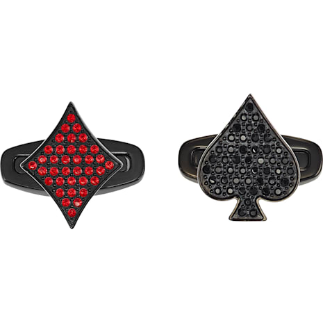 Unisex Tarot Magic Cuff Links, Red, Black PVD - Swarovski, 5504779