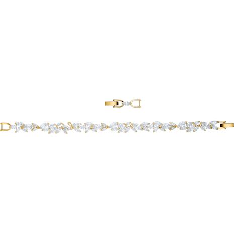 Pulsera Louison, blanco, Baño en tono Oro - Swarovski, 5505863
