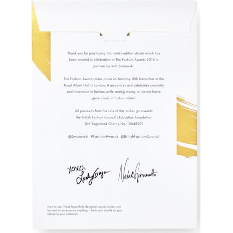 Les stickers Lady Gaga ornés de cristal Swarovski, Fashion Awards 2018 - Swarovski, 5507970