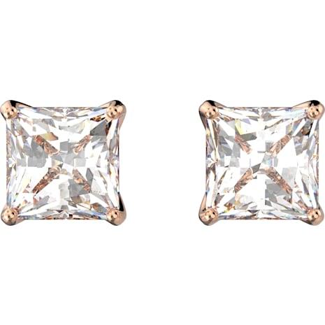 Pendientes Attract, blanco, Baño en tono Oro Rosa - Swarovski, 5509935