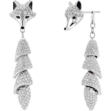 Polar Bestiary Drop Pierced Earrings, Multi-colored, Rhodium plated - Swarovski, 5510844