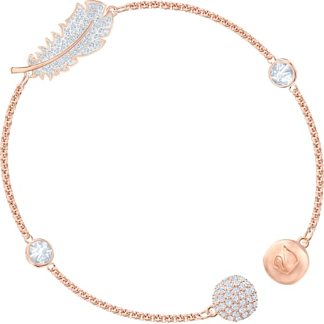 Swarovski Remix Collection Feather Strand, blanco, Baño en tono Oro Rosa - Swarovski, 5511003