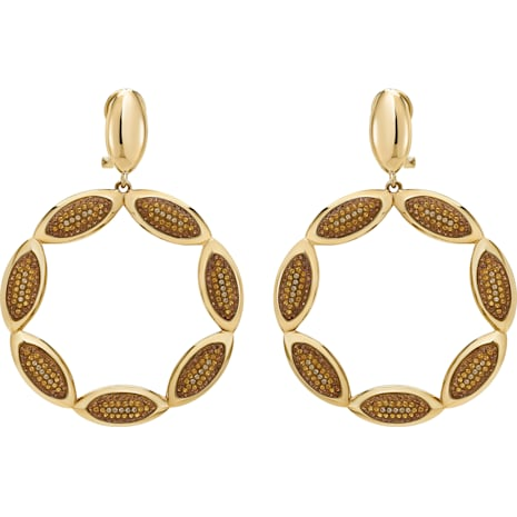 Evil Eye Hoop Clip Earrings, Brown, Gold-tone plated - Swarovski, 5511550