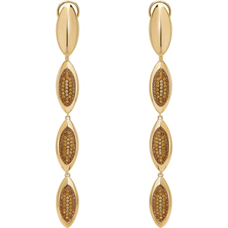 Evil Eye Drop Clip Earrings, Long, Brown, Gold-tone plated - Swarovski, 5511785