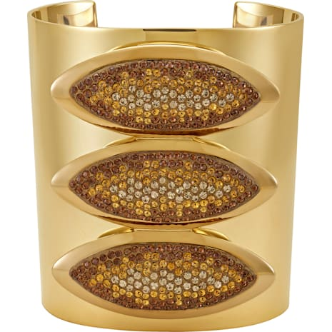 Evil Eye Statement Cuff, Brown, Gold-tone plated - Swarovski, 5511789