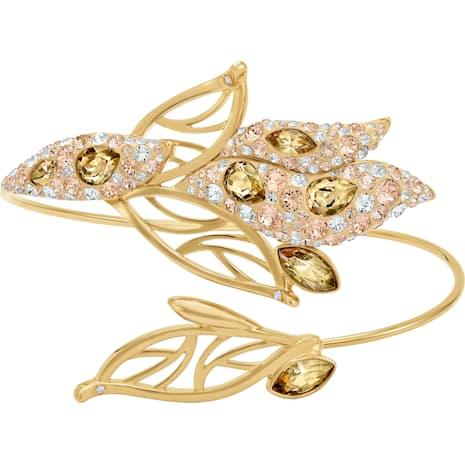 Graceful Bloom Cuff, Brown, Gold-tone plated - Swarovski, 5511816
