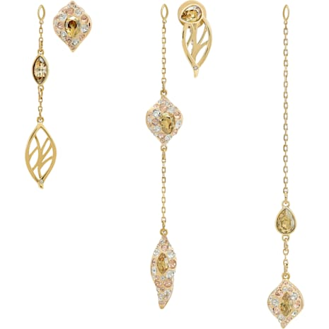 Graceful Bloom Multi Drop Earrings, Brown, Gold-tone plated - Swarovski, 5511819