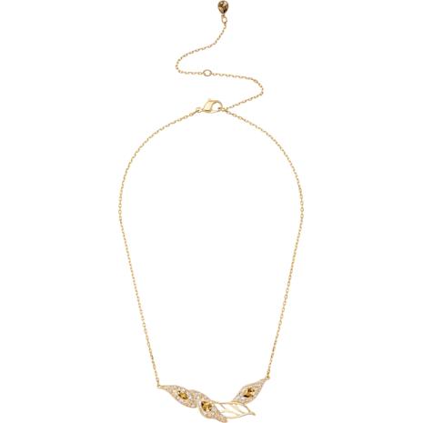 Graceful Bloom Necklace, Brown, Gold-tone plated - Swarovski, 5511820