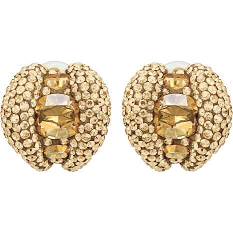 Tigris Stud Clip Earrings, Brown, Gold-tone plated - Swarovski, 5512346