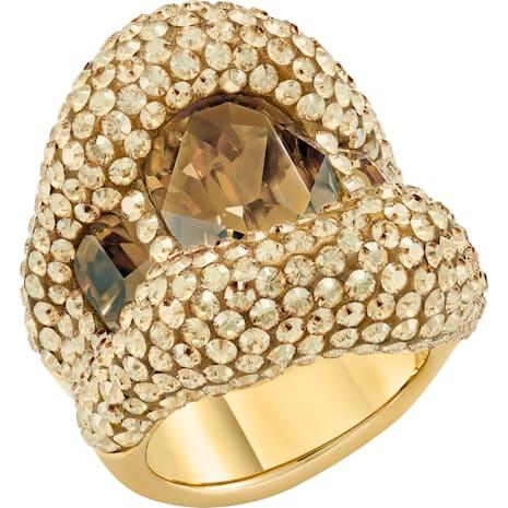 Tigris Cocktail Ring, Brown, Gold-tone plated - Swarovski, 5512347