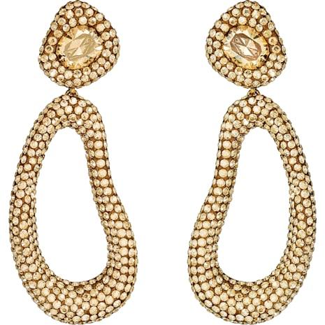 Tigris Drop Clip Earrings, Brown, Gold-tone plated - Swarovski, 5512348