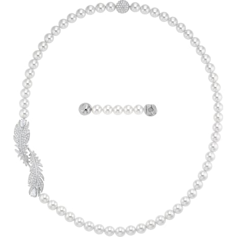 Nice Set, White, Rhodium plated - Swarovski, 5512380