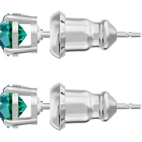 Attract Stud Pierced Earrings, Green, Rhodium plated - Swarovski, 5512384