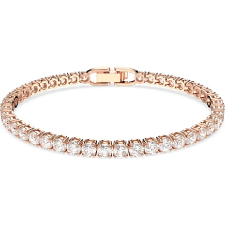 Tennis Deluxe Bracelet White Rose Gold Tone Plated