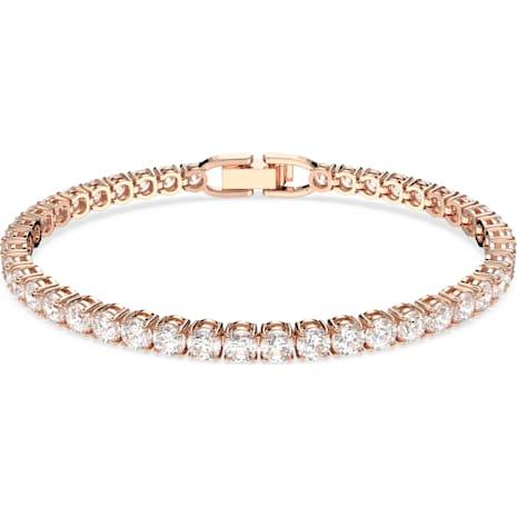 Tennis Deluxe Bracelet, White, Rose-gold tone plated - Swarovski, 5513400
