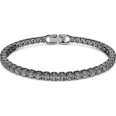 Tennis Deluxe Armband, grau, Rutheniert - Swarovski, 5514655