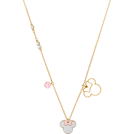 Mickey & Minnie Pendant, White, Gold-tone plated - Swarovski, 5515433