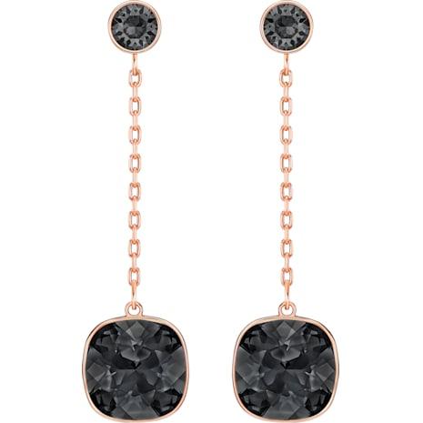 Latude Chain Pierced Earrings Black Rose Gold Tone Plated