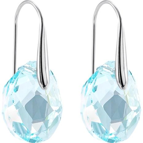 Galet Pierced Earrings, Blue, Rhodium plated - Swarovski, 949740