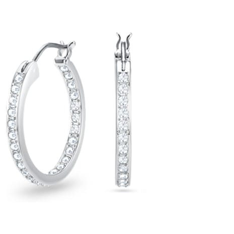 Sommerset Earrings, White, Rhodium plated - Swarovski, 1172374