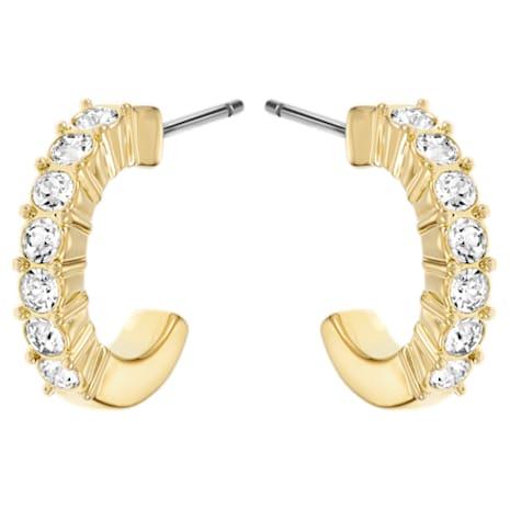 Mini Hoop Pierced Earrings, White, Gold-tone plated