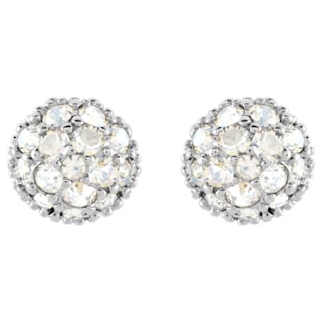 Euphoria Pierced Earrings, White, Rhodium plated - Swarovski, 5073039