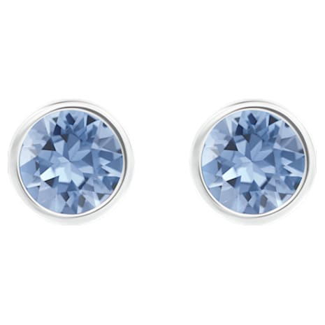 Solitaire Pierced Earrings Blue Rhodium Plated