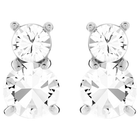Solitaire Double Pierced Earrings White Rhodium Plated