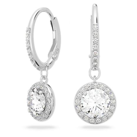 Attract Earrings, White, Rhodium plated - Swarovski, 5142721