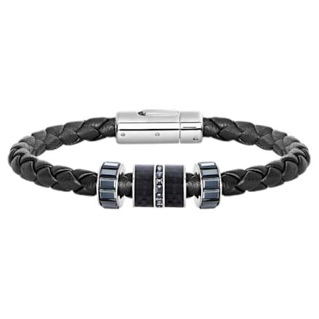 Braccialetto Diagonal, Pelle, nero, acciaio inossidabile - Swarovski, 5159648