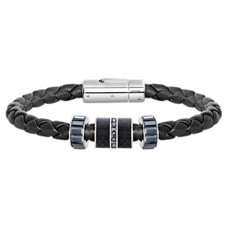 Pulsera Diagonal, Piel, negro, acero inoxidable - Swarovski, 5159648