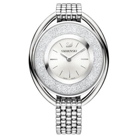 Crystalline Oval Uhr, Metallarmband, weiss, Edelstahl - Swarovski, 5181008