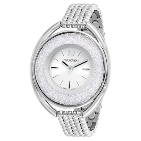 Crystalline Oval Часы, Металлический браслет, Белый Кристалл, Нержавеющая сталь - Swarovski, 5181008