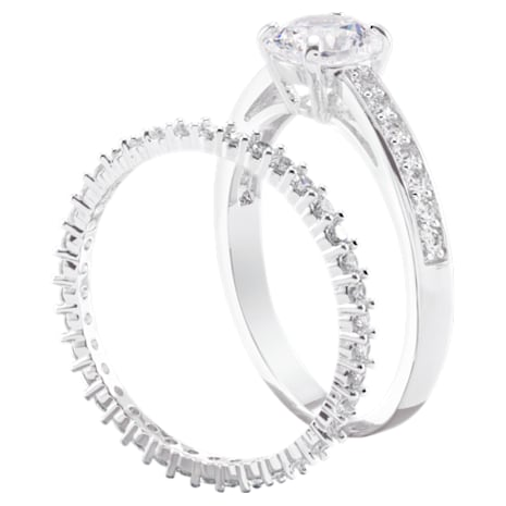 I Do Ring Set, White, Rhodium plated - Swarovski, 5184317
