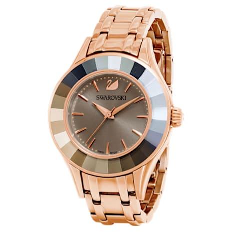 Alegria Watch, Metal bracelet, Gray, Rose-gold tone PVD - Swarovski, 5188842
