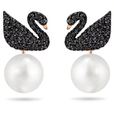 Pendientes Ear Jacket Swarovski Iconic Swan, negro, Baño en tono Oro Rosa - Swarovski, 5193949