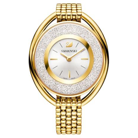 Crystalline Oval Watch, Metal bracelet, White, Gold-tone PVD - Swarovski, 5200339