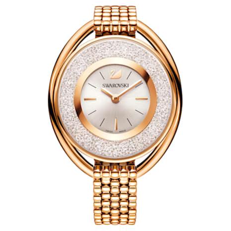 Crystalline Oval Watch, Metal bracelet, White, Rose-gold tone PVD - Swarovski, 5200341