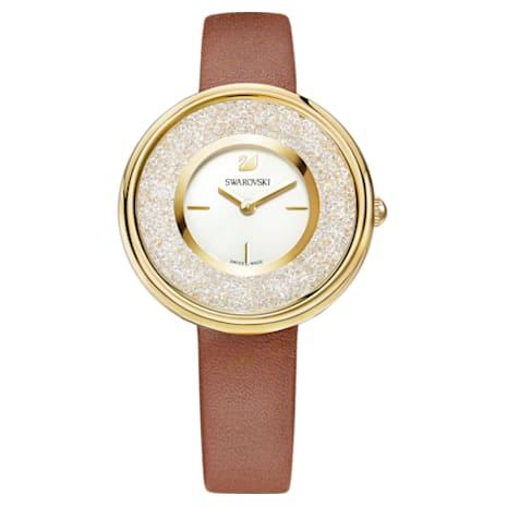 Crystalline Pure Uhr, Lederarmband, braun, Vergoldetes PVD-Finish - Swarovski, 5275040