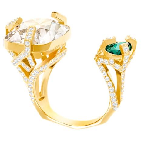 Haven Open Ring, Green, Gold Plating - Swarovski, 5288948