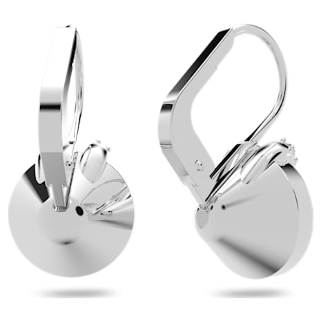 Bella V Pierced Earrings, White, Rhodium plated - Swarovski, 5292855